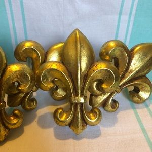 Fleur de Lis wood & gold ornamental decor pieces